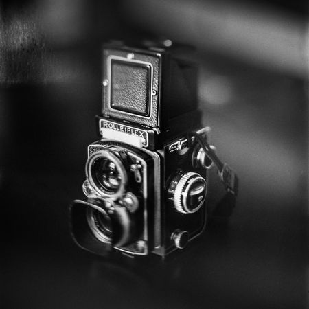 An experimental, home-developed photograph of an Rolleiflex 2.8E twin lens reflex camera. Analogue Antique Film Freelensing Old School Tilt Twin Lens Reflex Authentic Camera Camera - Photographic Equipment Close-up Day Home Developing Indoors  Luddite Medium Format Monochrome No People Photography Themes Retro Styled Rollei Rolleiflex Technology Tlr Traditional