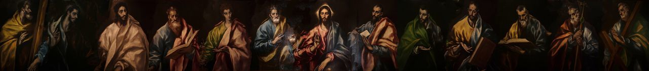Panoramic painting of jesus christ and apostle against black background