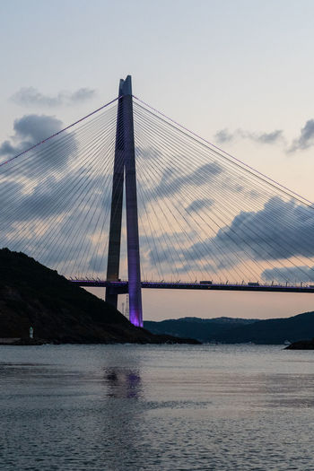 Suspension bridge over river against sky