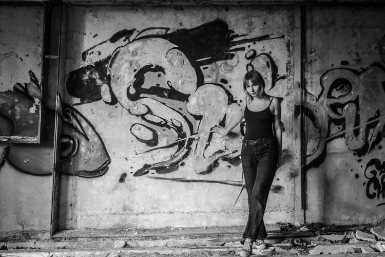 Urbex Essonne Urbex Manor Manoir Graffiti Ruins Lonely Model Sofiya Essonne France Ukrainien Blonde Hair Art And Craft Adult Wall - Building Feature Casual Clothing Women Creativity Standing Built Structure Architecture Day Young Adult One Person Full Length