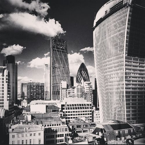 Architecture Clouds Skyline City Modern Blackandwhite London Skyscraper Photooftheday Likeforlike Londonlife Gherkin Instalike Instatravel Cloudstagram Lovelondon Londonpop Postcardsfromtheworld WalkieTalkie Whataview Cheesegrater Likesreturned Londonskyscrapers Ukpotd Londonarchitecture Shutup_london London_enthusiast Hidden_igers Londonwanderings Insta_gram_shooters