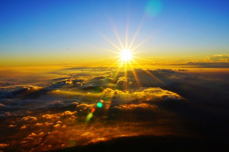 Beauty In Nature Nature Sunset Tranquility Scenics Sun Sky Tranquil Scene Sunbeam Majestic Lens Flare Cloudscape Clouds Cloud Outdoors Sunlight Mountain Beauty In Nature Idyllic No People Sunlight Cloud - Sky Landscape Awe Day
