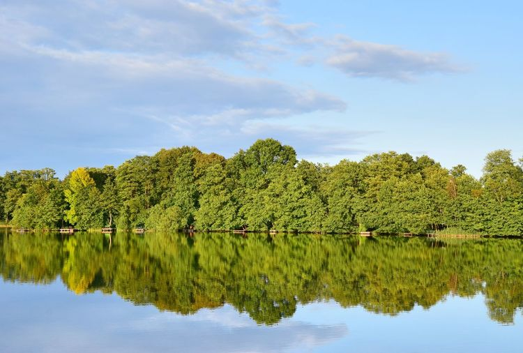 Bötzsee Eggersdorf Evening Light Beauty In Nature Day Green Color Growth Idyllic Lake Nature No People Outdoors Reflection Scenics Sky Tranquil Scene Tranquility Tree Water Waterfront