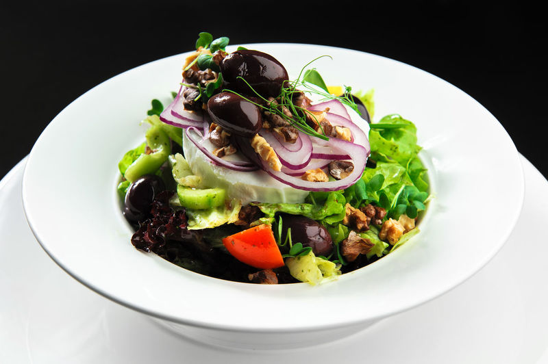 Vegetable salad with cheese Ingredients Olive Salad Appetizer Cheese Close-up Feta Cheese Food Healthy Eating Healthy Food Main Course Mozzarella No People Nobody Nutritious Onion Plate Portion Ready-to-eat Restaurant Restaurant Food Serving Size Vegetable Vegetable Salad Walnuts