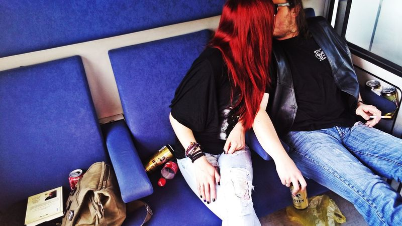 Love is forever, or never, remember!! #Grunge #MusicianLife #RedHead  #Train #color #couple #forever #happy #kisses #love #marriage #music #red #rock #simple #sunset #sun #clouds #skylovers #sky #nature #beautifulinnature #naturalbeauty #photography #landscape #travel #zen Day High Angle View Indoors  Lifestyles Real People Togetherness Women