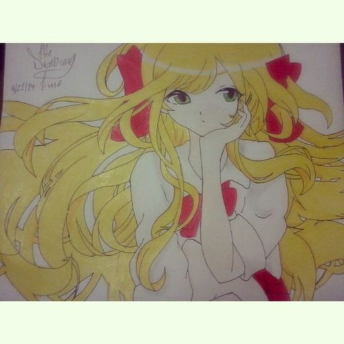 >///////< thi's draw is really cute Thedrawingtime Anime Animecute Prismacolor animegirl kawaiii fun color my life