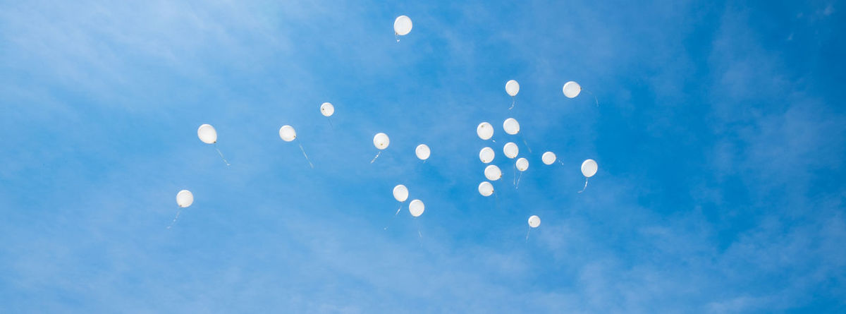 Balloons Birthday Celebration Death Family Farewell Flying Friends Funeral Goodbye Heaven Letting Go Mid-air Nature No People Outdoors Peace Rest In Peace Scattered Sky Tranquility White Balloons Life 10 The Great Outdoors - 2018 EyeEm Awards The Creative - 2018 EyeEm Awards