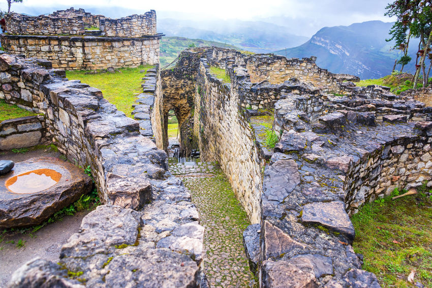 View of the entrance to the ancient fortress city of Kuelap, Peru Amazonas Ancient Architecture Building Chachapoyas Chachapoyya Civilization Culture Fort Fortress Historic Inca Kuelap Peru Ruin Ruins South America Stone Traditional Utcubamba