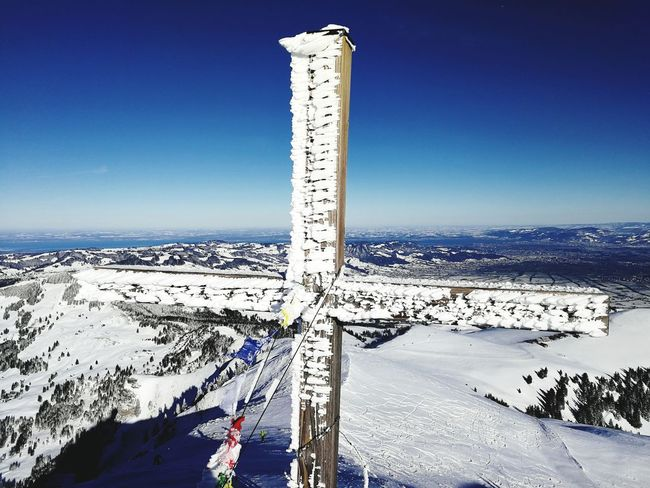 Skitour Kamor Summit Cross Snow Covered Blue Outdoors Day Sky No People Nature