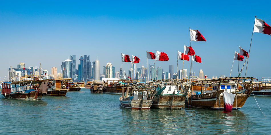 Sky Water Built Structure Architecture Building Exterior City No People Outdoors Doha Qatar Corniche Dhaw Sambuk Westbay Skyline Qatari Flag Nautical Vessel Sea Gulf