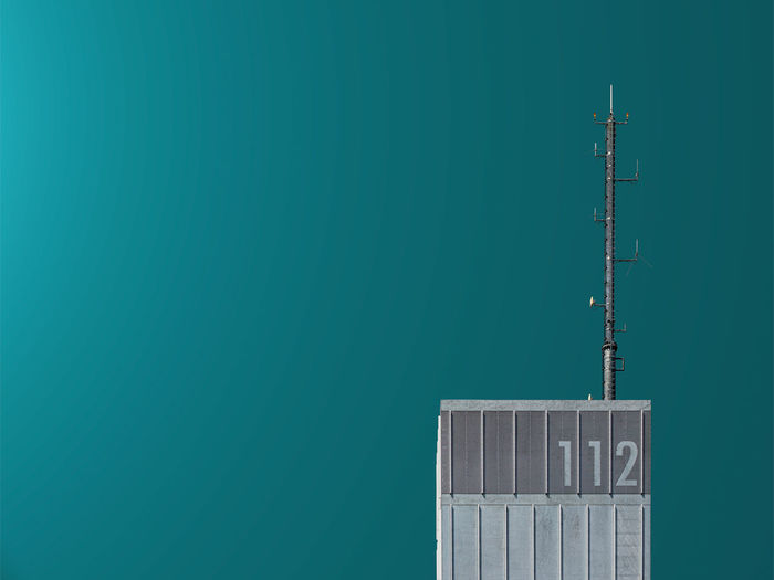 Close-up of communications tower of a fire station
