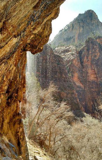 Weeping Rock Zion National Park Waterfall Nature Water Desert