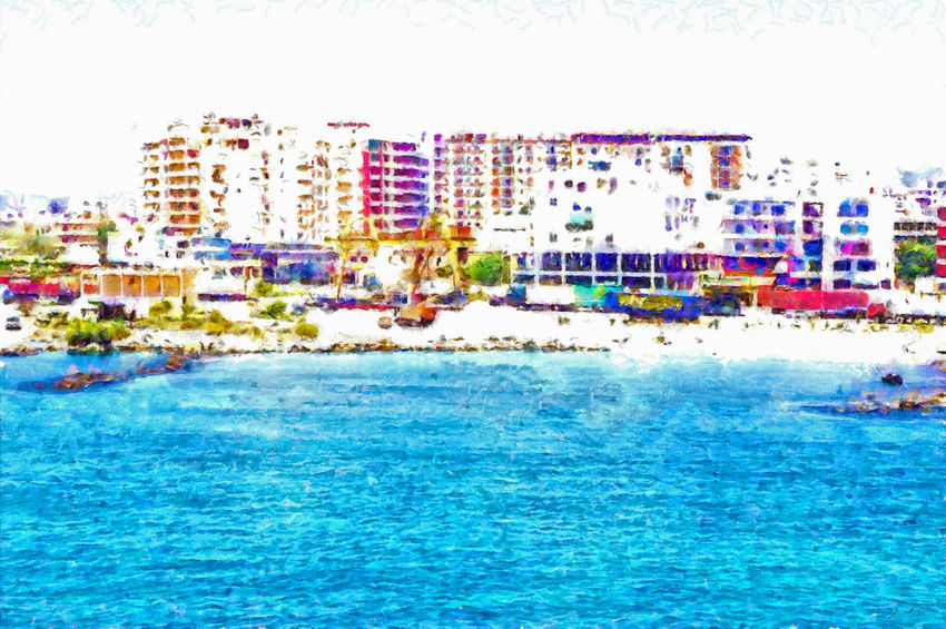 With the ship coming from Italy, I see Valona and the harbor pier from the sea Architecture Cityscape Coastline Architecture Art Beach Building Exterior Built Structure City Clear Sky Digital Art Digital Painting Multi Colored Outdoors Scenics Sea Swimming Pool Vacations Water Watercolor Watercolor Painting Waterfront Wave
