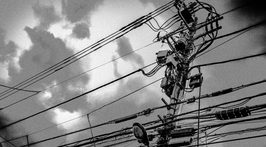 From My Point Of View Cloud - Sky Clouds And Sky Connection Electricity Pylon Lookingup Monochrome No People Outdoors Power Line  Power Supply Rusty Sky Technology
