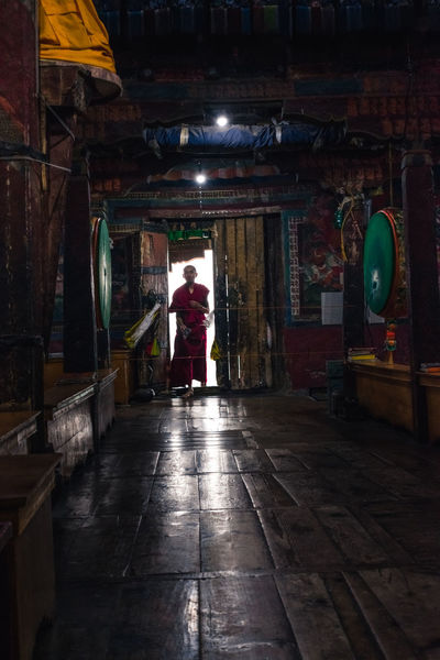 Ladakh Monastery Adult Adults Only Architecture Built Structure Full Length Illuminated Indoors  Leh Leisure Activity Lifestyles Monk  Night One Person People Real People Rear View Standing Thiksey Thiksey Monastery Walking Women Young Adult