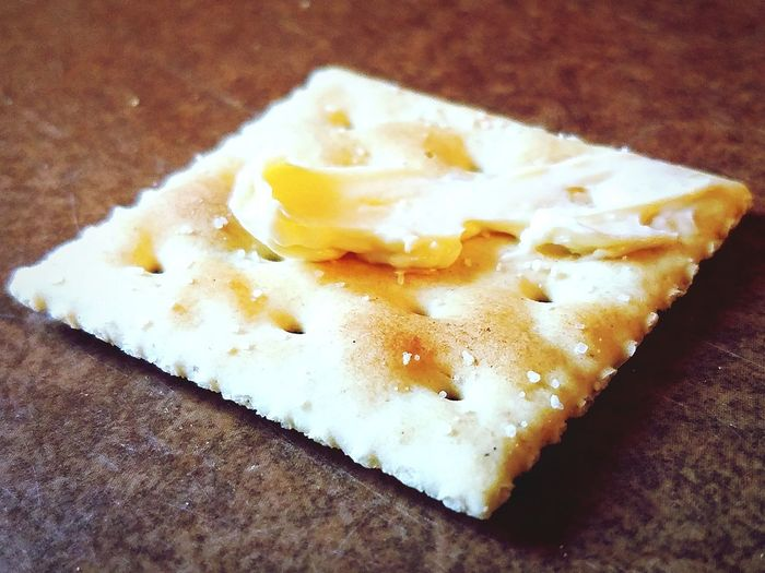 Buttered saltine. Cracker Saltine Butter Food Table Comfort Food High Angle View Close-up Food And Drink