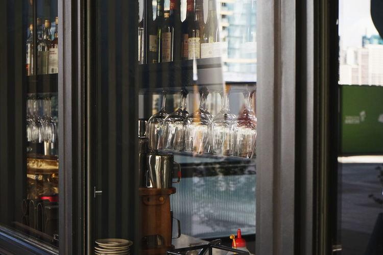 Glass window in restaurant