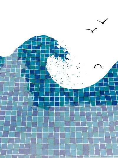Flying Pattern Bird Water Outdoors Swimming Pool Day No People Nature Airplane Animal Themes Sky Pixelated