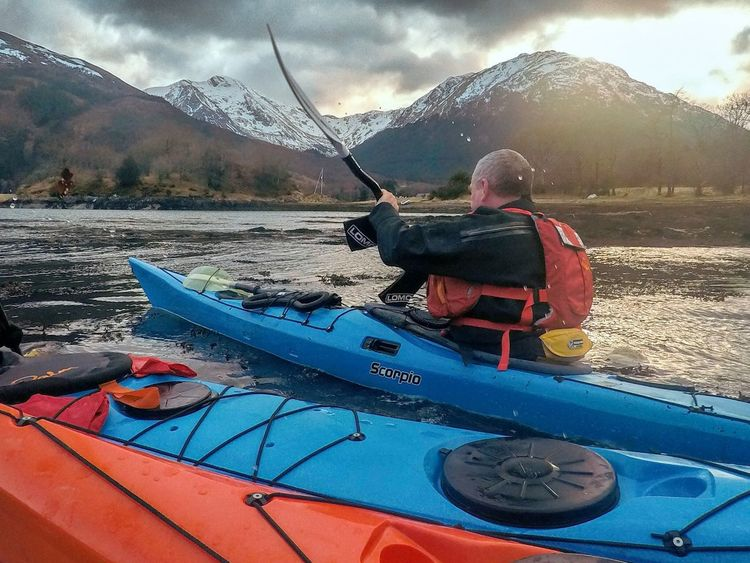 Winter Sea kayaking in Scotland Kayaker Paddle Loch  Lake Education Motivation Instructor Coach Leadership Whc Uhi Lochaber Highlands Outdoors Scotland Sea Kayak Sea Kayaking Kayaking Kayak Mountain Nautical Vessel Mountain Range Transportation Adventure Real People Nature Cold Temperature Leisure Activity