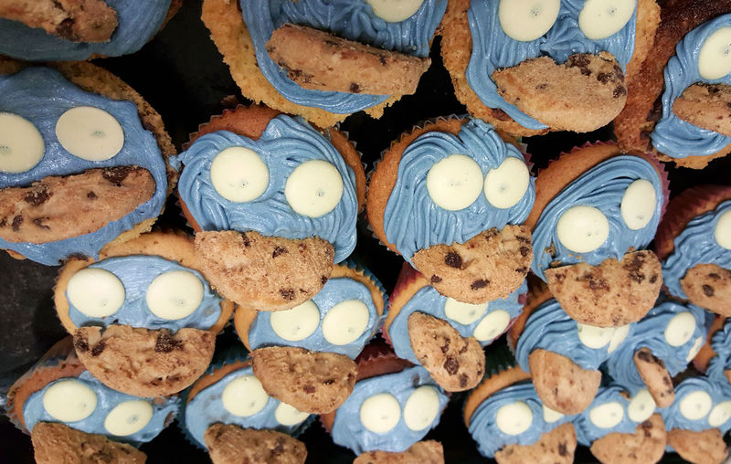 High angle view of cup cakes on table