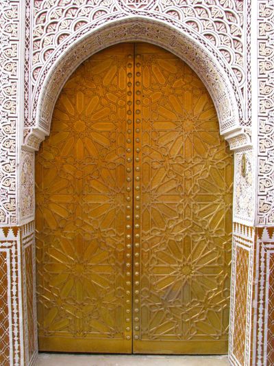 one of the beautiful Gates inside the Royal City of Marrakech Arch Architecture Building Exterior Built Structure Door Entrance No People Outdoors Pattern Royal City