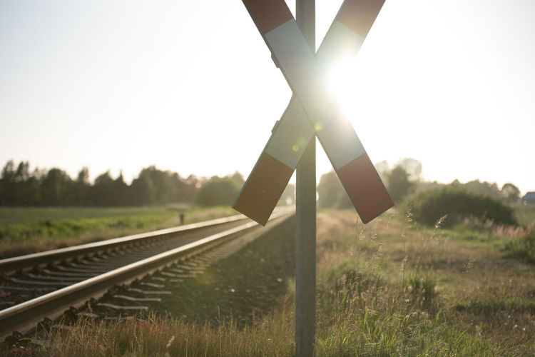 Close-up of railroad track against clear sky