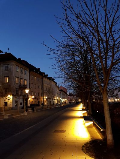 Illuminated street amidst houses against clear sky at night