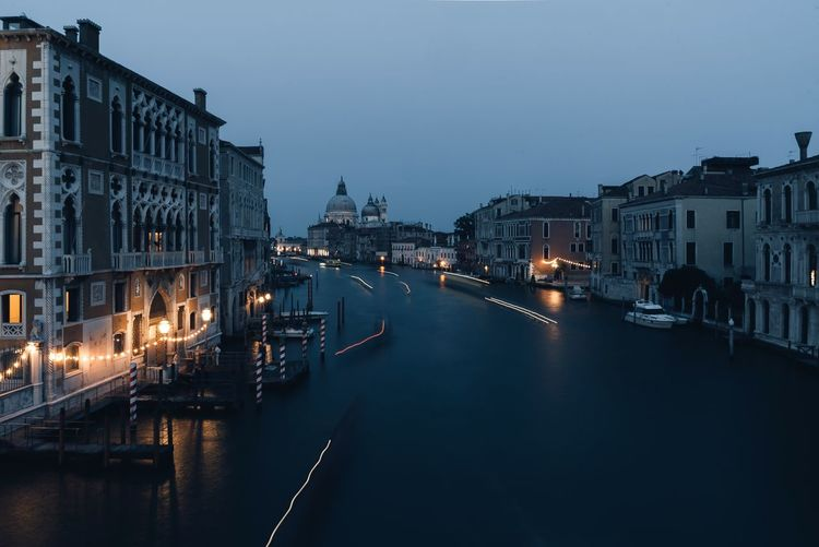 Grand Canal Amidst Buildings At Dusk