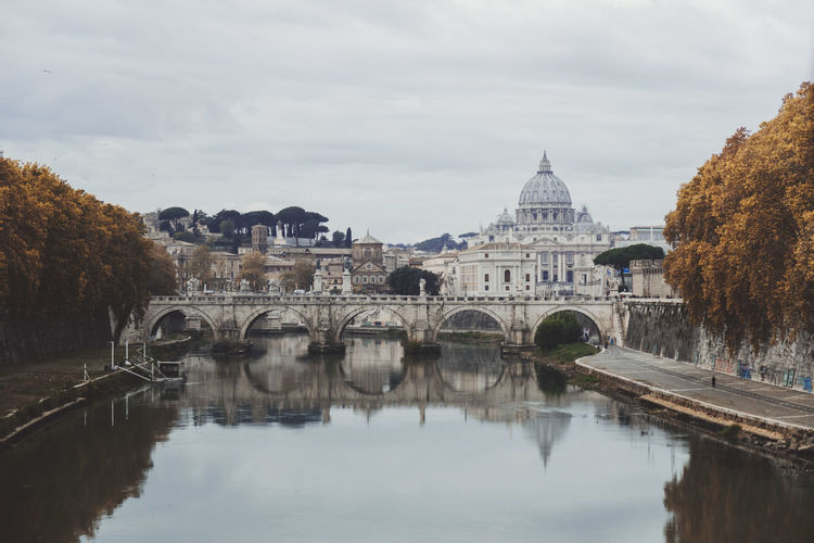 San Pietro In Vaticano Vatican Architecture Bridge - Man Made Structure Building Exterior Built Structure Day Dome Nature No People Outdoors Reflection Sky Travel Destinations Tree Water Waterfront