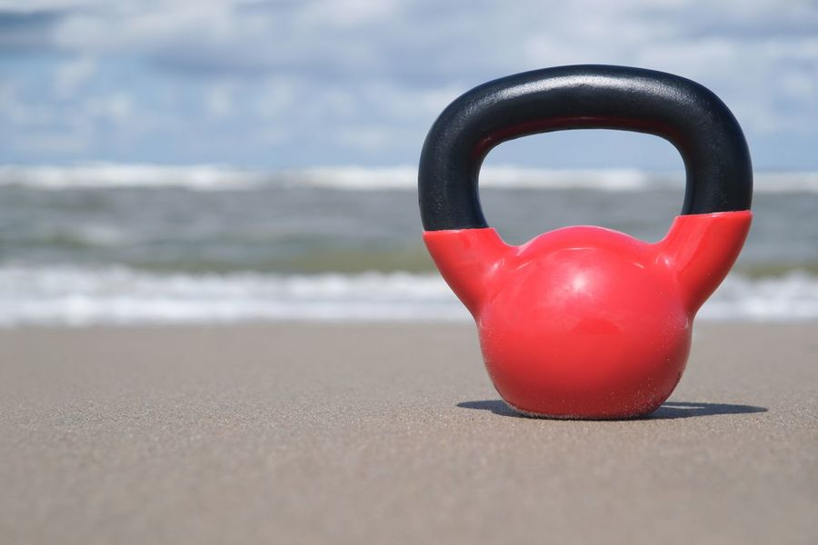 Kettlebell at the beach Seaside Ocean Red Nobody Copy Space Functional Fitness Outdoors Weight Workout Kettlebell  Water Beach Sea Land Red Day Focus On Foreground No People Nature Sand Sport Close-up Outdoors Selective Focus