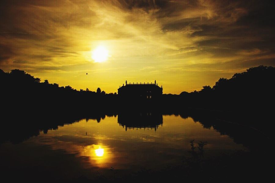 Reflection Sunset Sky Water Sun Cloud - Sky Architecture Outdoors Silhouette Lake Sunlight No People Beauty In Nature GroßerGarten Dresden