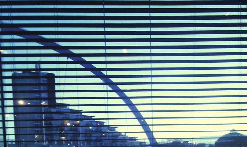Venetian Blind Slats Window Sky Built Structure Building View Night Dark Urban Geometry