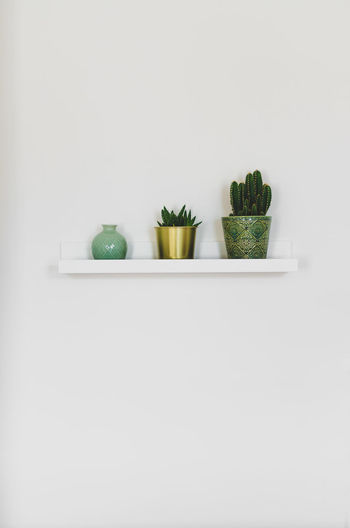 Three colorful vases on a white cupboard on a white wall. Interior lightning. Bright Cactus Gold Growth Interior Style Plants Sizes Three Of A Kind Trinity Cupboard Day Freshness Green Color Healthy Eating Healthy Lifestyle High Key Indoors  Interior Interior Design Minimalistic Simplicity Studio Shot Vases White White Background