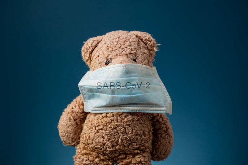 Close-up of stuffed toy against blue background
