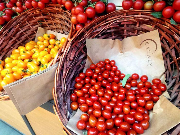 Fresh cherry tomatoes Tomatoes Yellow Tomatoes Vegetables Pomegranate Farmer Market Farmer's Market Cherry For Sale Street Market Market Stall Market