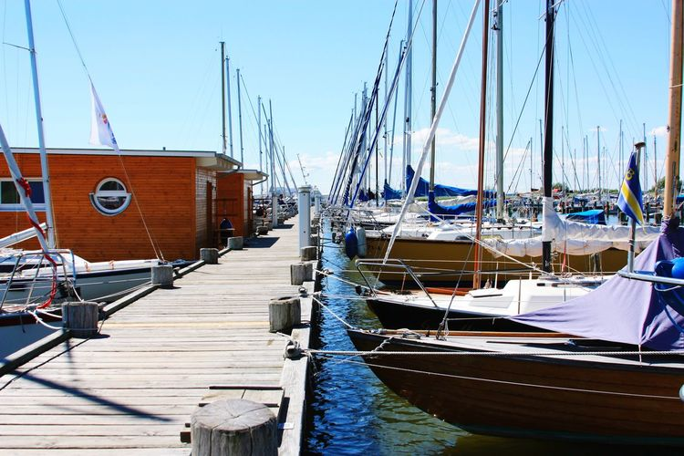 Nautical Vessel Moored Transportation Sailboat Harbor Outdoors Day No People Wood - Material Water Sunlight Sea Sky Clear Sky Mast Nature Sailing Ship Yachting Sport Rigging Sun Summer Deck Sailing Rope Ship's Bow Summer Exploratorium