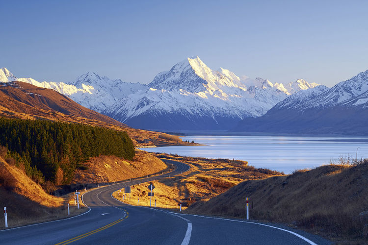 Scenic View Of Snowcapped Mount Cook Against Clear Sky