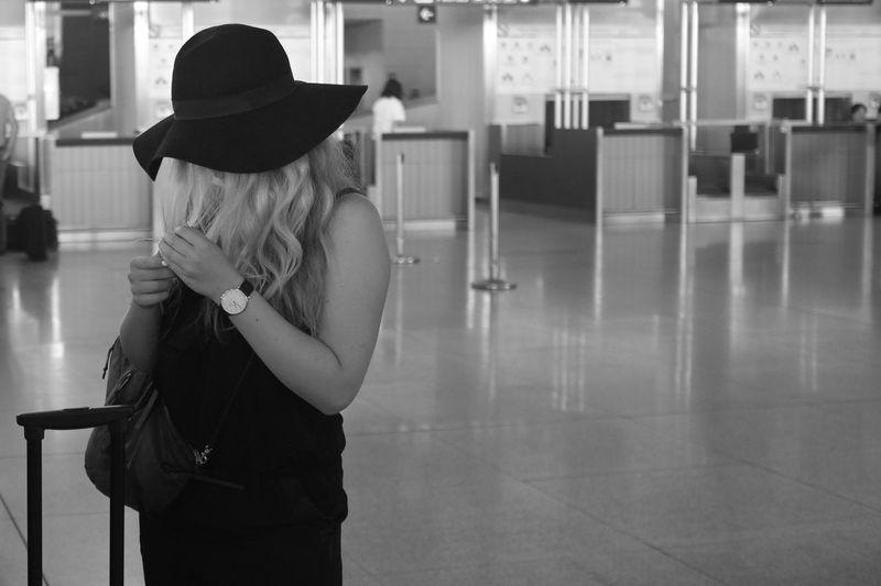 Malaga Málaga,España Málaga Airport  Girl Hat Hair Waiting Waiting For The Plane Spain♥ España