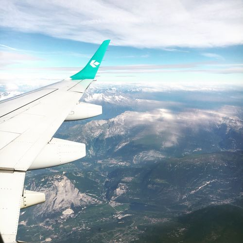 Airplane Transportation Airplane Wing Nature Alps Italy Cloud - Sky Aerial View