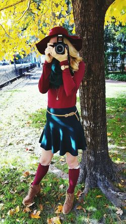 Photographer Photography Fallen Leaves Outfitoftheday Woolhat Red&green Fall Leaves Canonphotography Canon Rebel T5 Canon