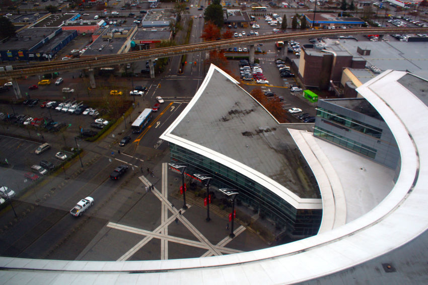 Looking down from the 13rd floor of Surrey Central tower. Surrey Central Tower Surrey B.C Aerial View High Angle View Transportation City City Street Architecture Built Structure