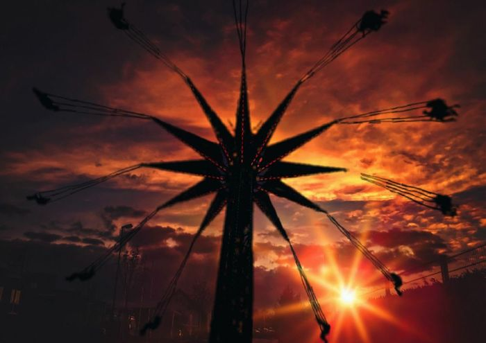 Orange Sky Yellow Sunset Going Down Beautiful Nature Painted Sky Natures Colors Carnival YoYo Dusk Colours Evening Sky Sunset_collection Movement Photography Sunsetting Sundown Dusk Nightphotography Outdoor Photography People Photography Sillouettes And Sunsets Hang'n Out Posing For The Camera Friends Sunset Silhouette Sky Cloud - Sky Entertainment Evening Chain Swing Ride Amusement Park Ride
