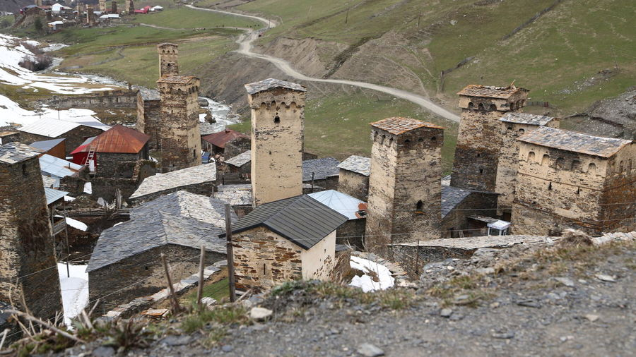 Georgia Mestia/town In Svaneti/Georgia Architecture Built Structure Building Exterior Building History Nature Day No People Land House Old Ruin Outdoors Ancient The Past Damaged Old Mountain Solid Abandoned Plant Ruined