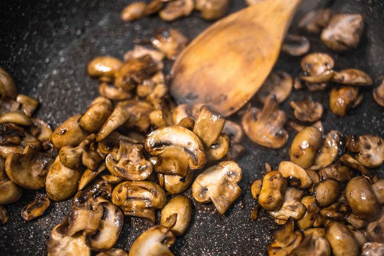 High Angle Close-Up Of Mushrooms