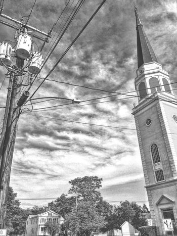 Downtown walkabout.... Town Center Town Centre New England  Connecticut Stratford Structure Building Architecture Exterior Red Door Door First Congregational Church Stained Glass Christianity Spire  Steeple Clapboard Church Powerlines Street Road