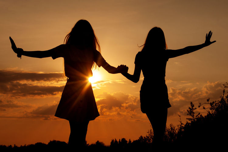 Silhouette friends holding hands standing on land against sky during sunset