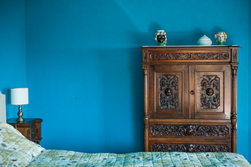 Blue Built Structure Close-up Closed Day Electric Lamp Green Color Hotel Room Italy Natural Light No People Ornate Scario Southern Italy Tourism Travel Wall Wall - Building Feature Hidden Gems  Hotel Colour Of Life Color Palette Interior Style