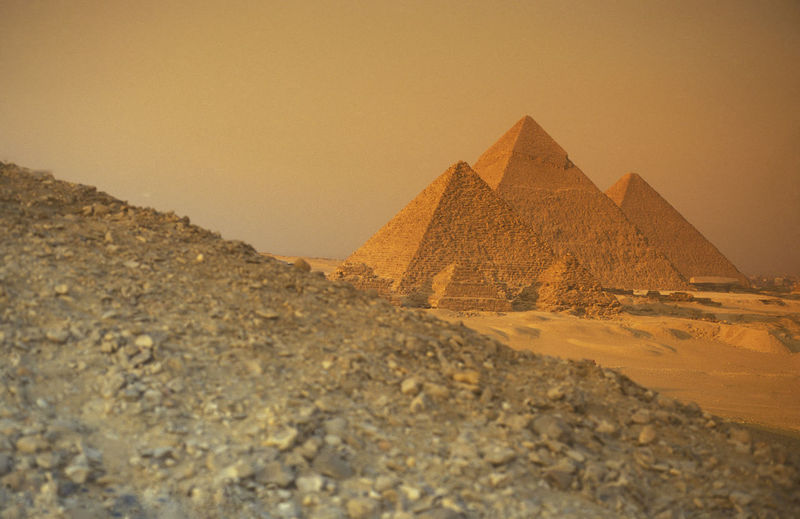 Ancient pyramids against clear sky