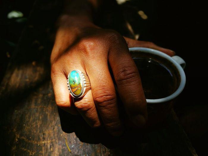 Human Hand Close-up Outdoors Gemstones Gem Akik Ring Exotic Coffee Coffee Time