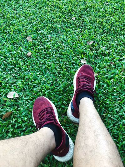 Grass Running Shoe Low Section Personal Perspective Human Leg Body Part Human Body Part One Person Grass Green Color